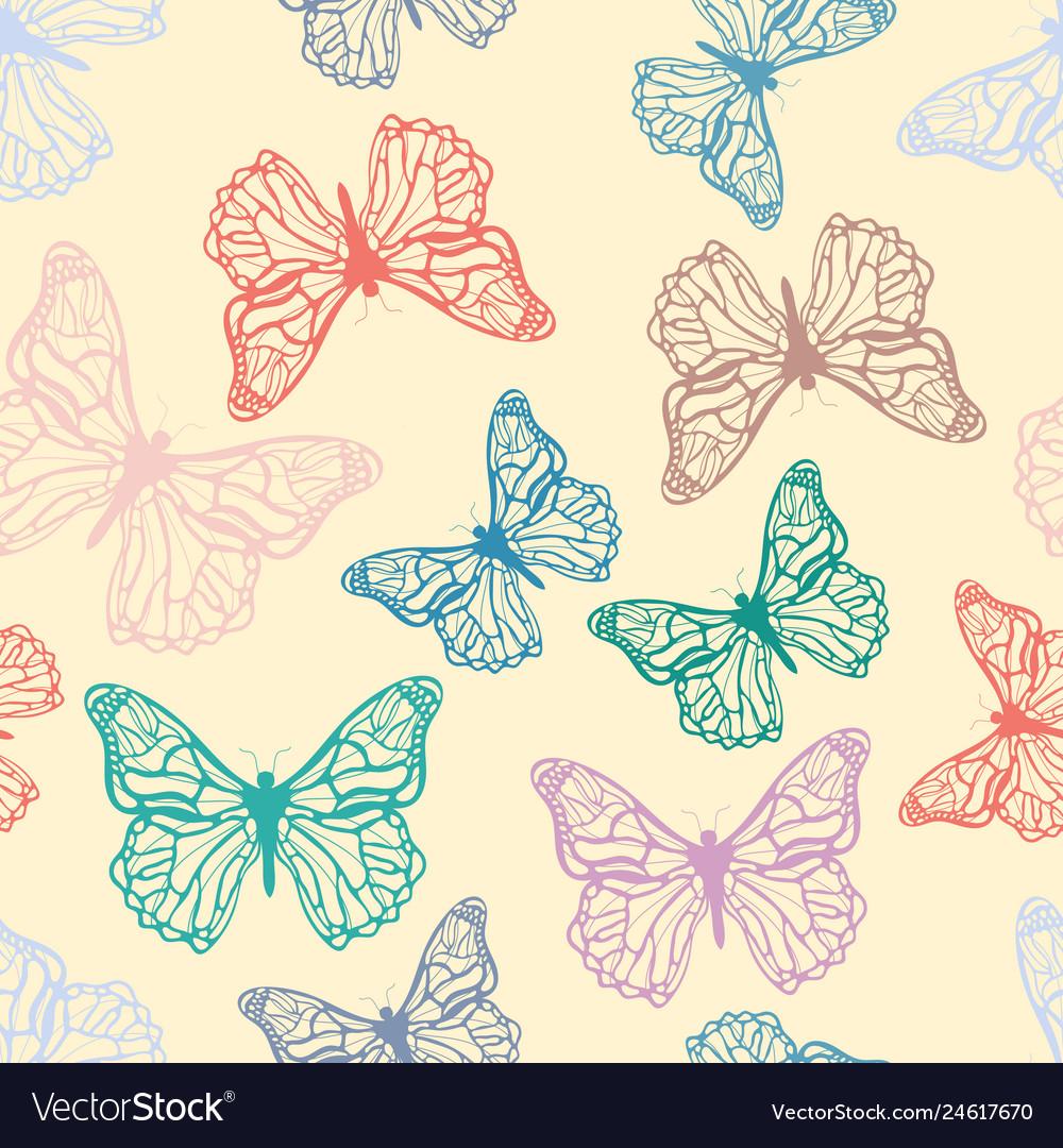 Cute detailed butterflies seamless pattern in