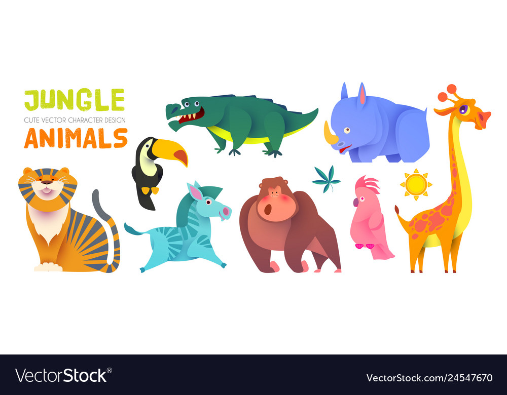 Cute jungle animals set exptic wild collection