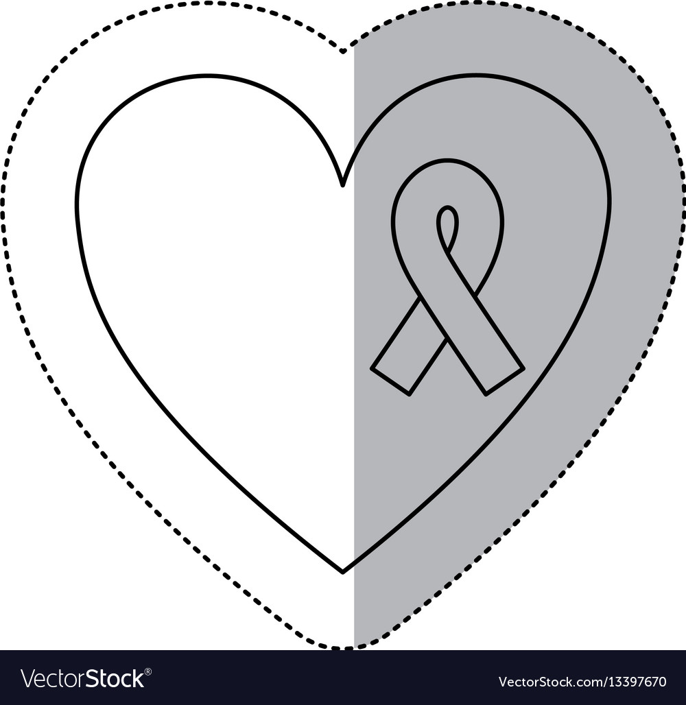 Figure heart with breast cancer ribbon icon