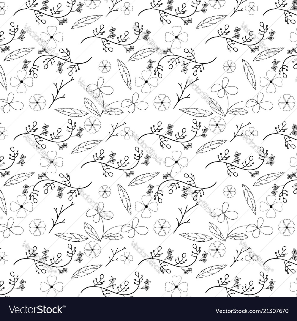 Flower and vine seamless pattern design on white