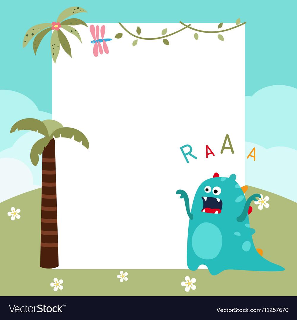 frame with cartoon dinosaur royalty free vector image