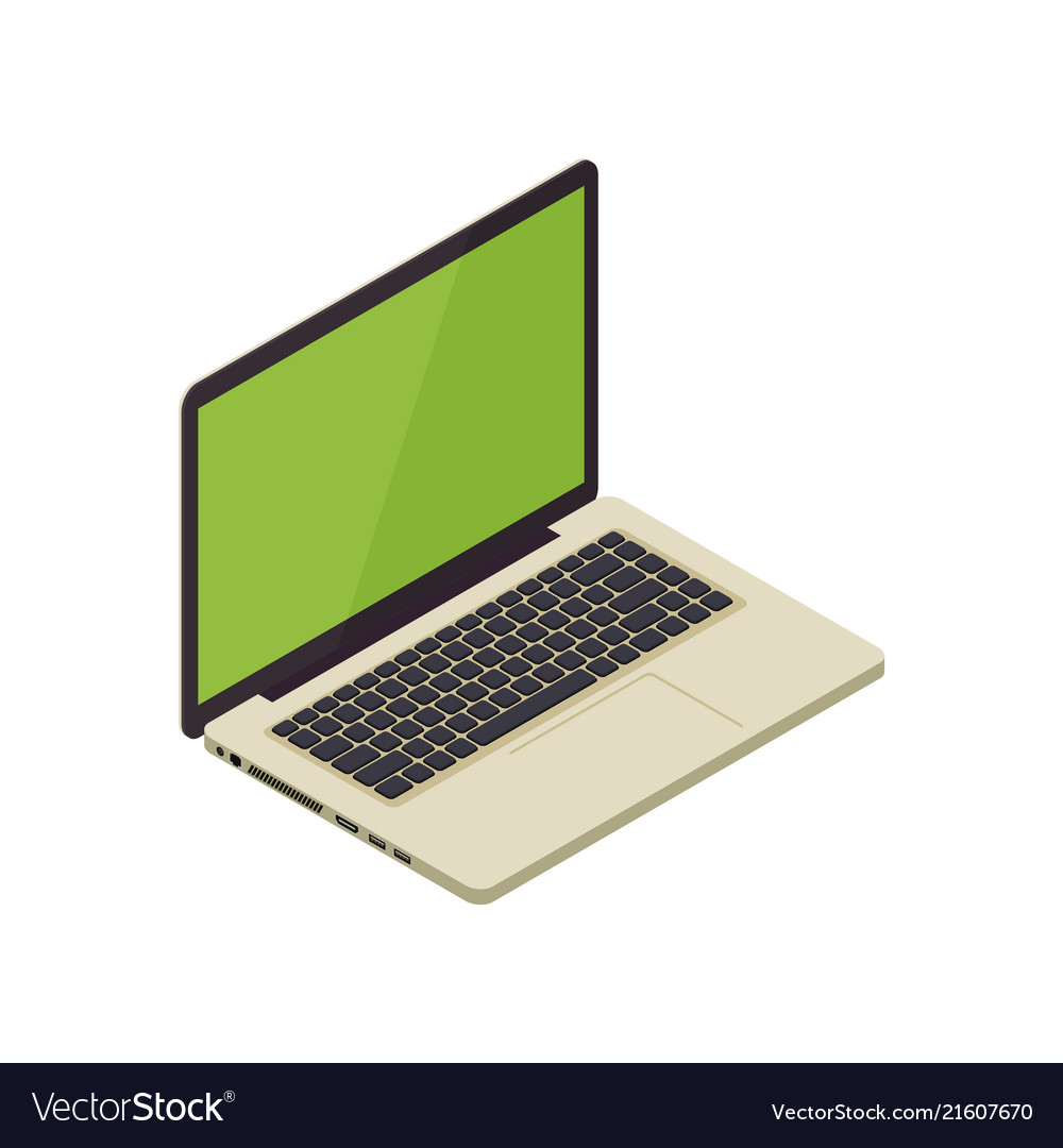 Gold isometric notebook laptop