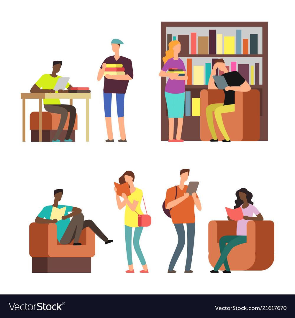 International students reading books and magazines
