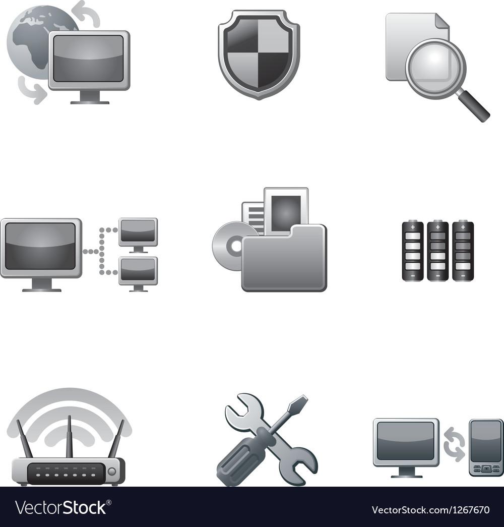 Network icon set grey