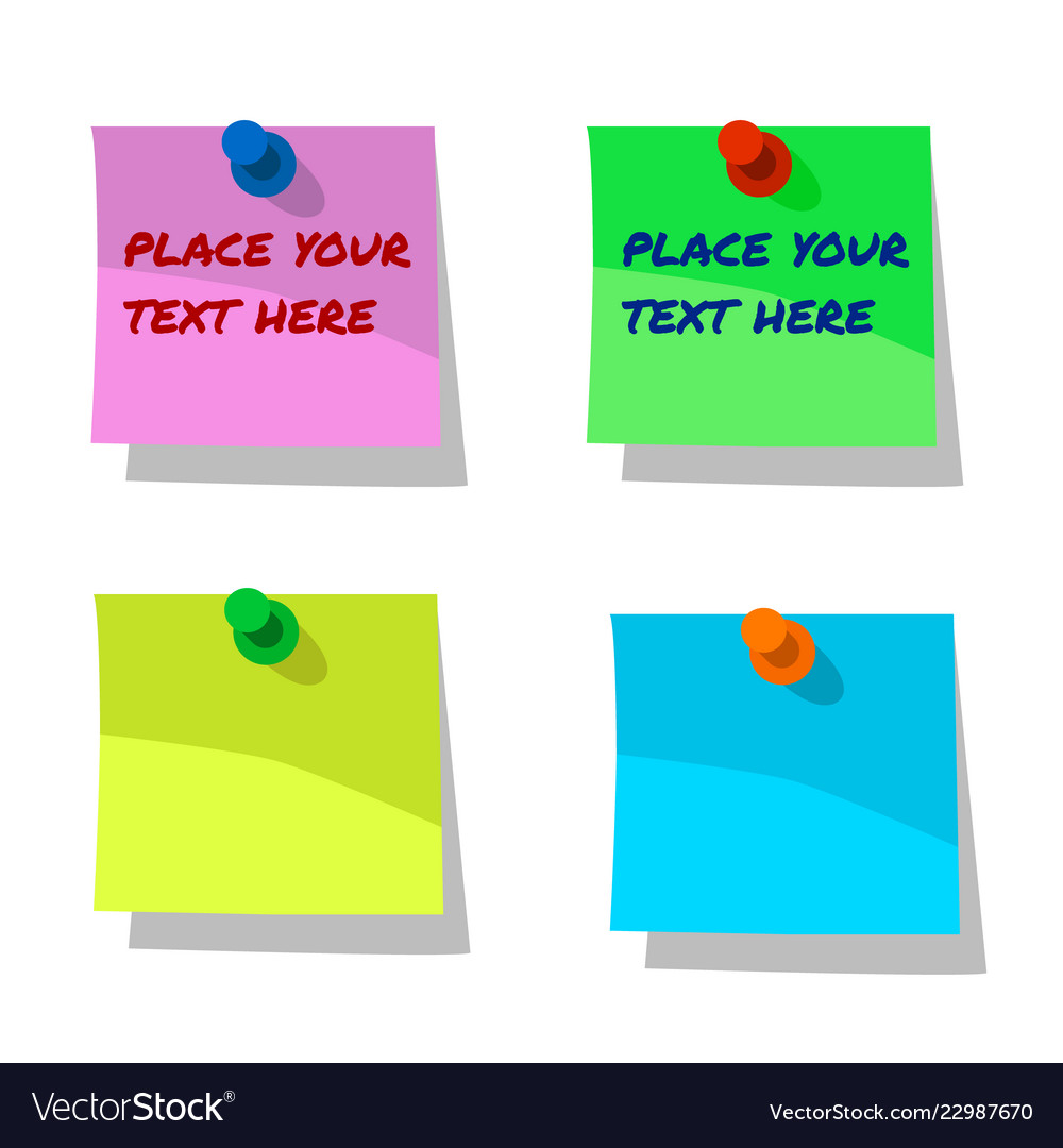 Pinned paper notes labels blue pink yellow and
