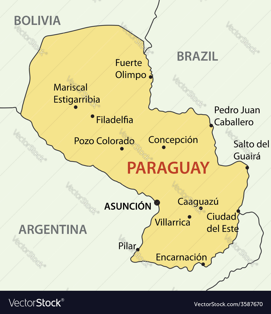 Republic of Paraguay map Royalty Free Vector Image