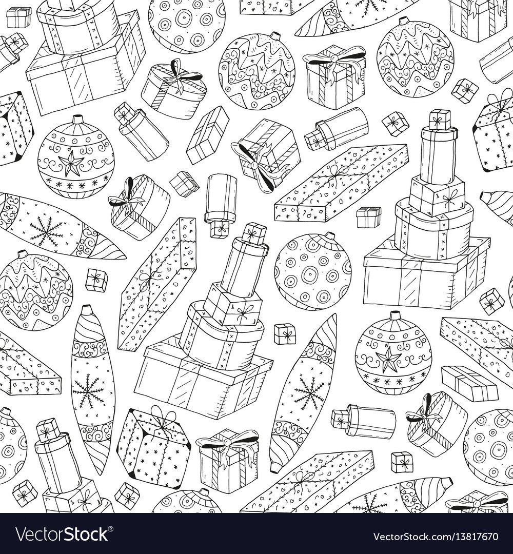 Seamless christmas gifts pattern in doodle style