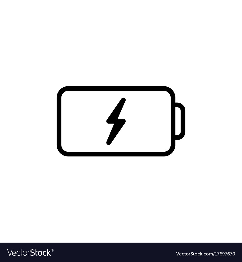 Thin line battery icon on white background vector image