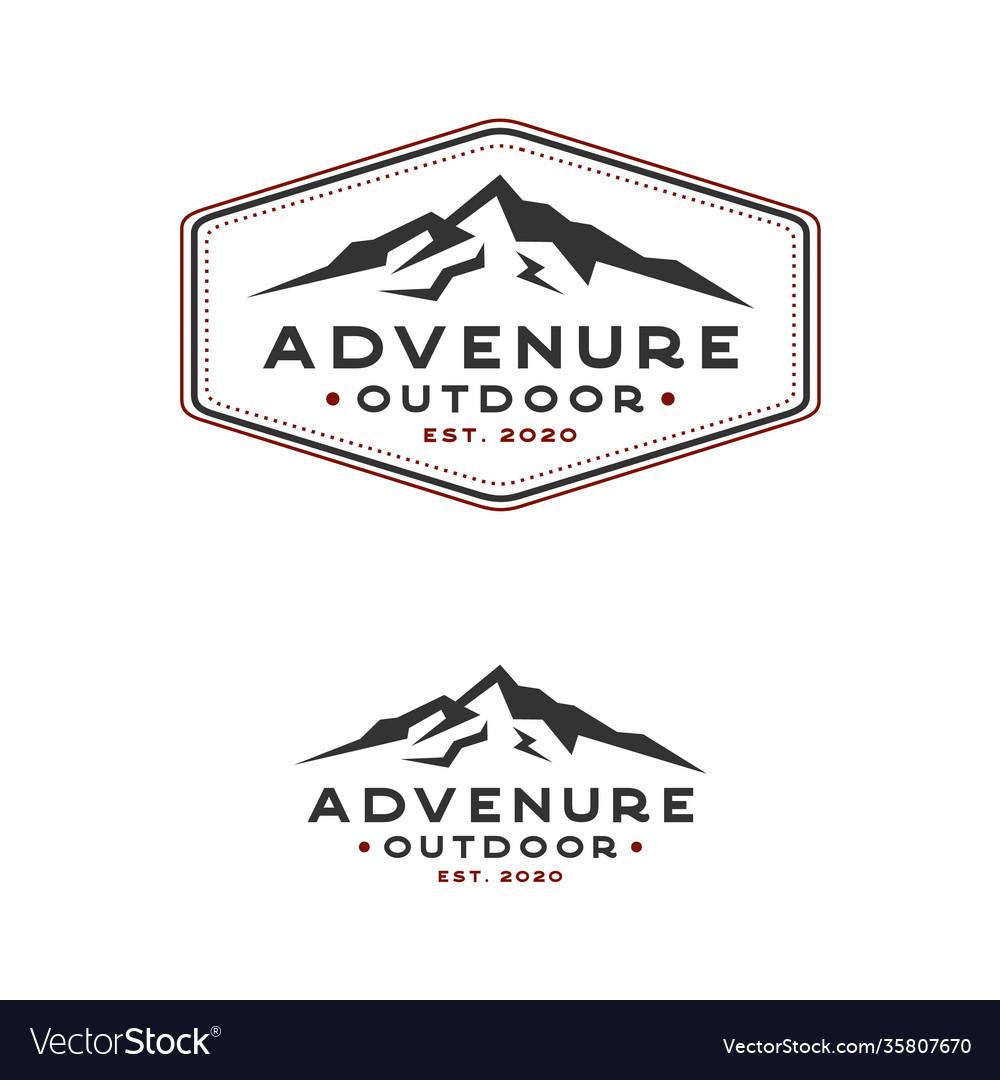 Vintage hand drawn retro mountain logo design