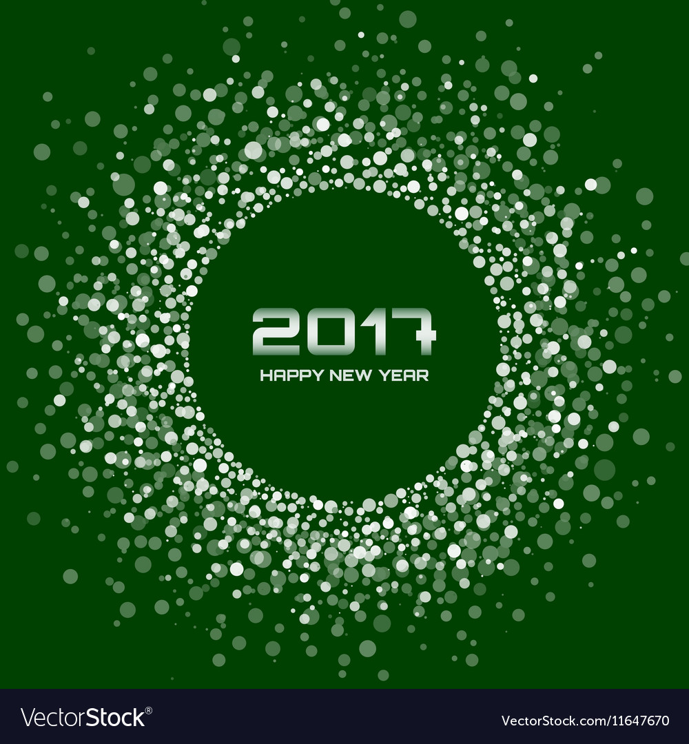 White Green New Year 2017 circle frame Background