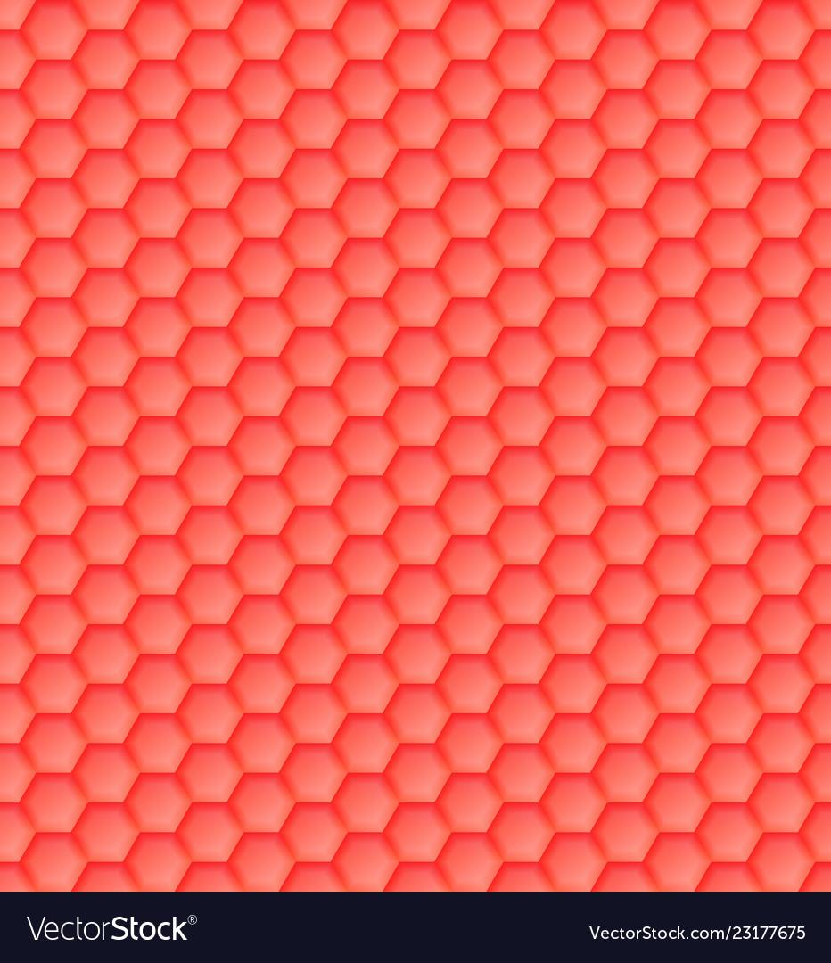 3d seamless geometric orange pattern of hexagons