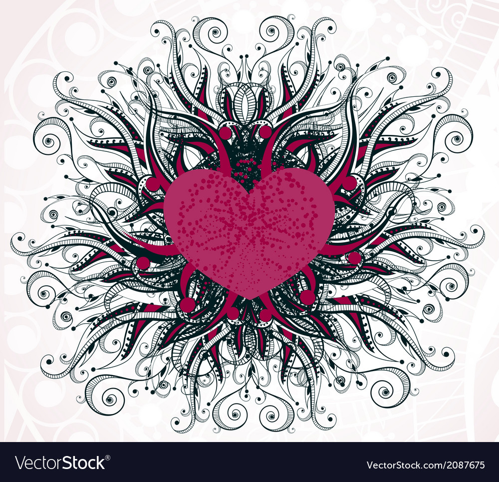 Abstract heart with floral elements