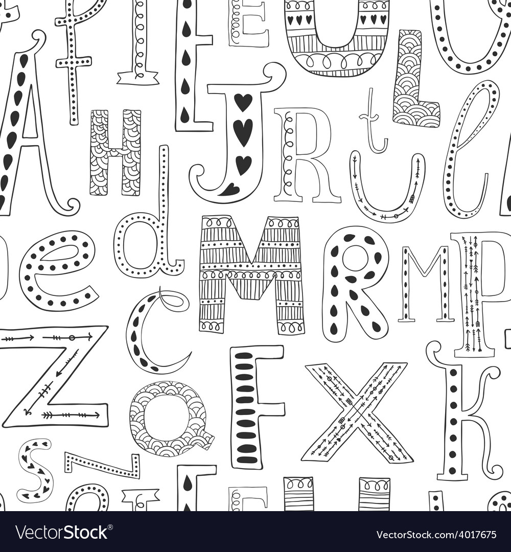 Background with hand drawn alphabet