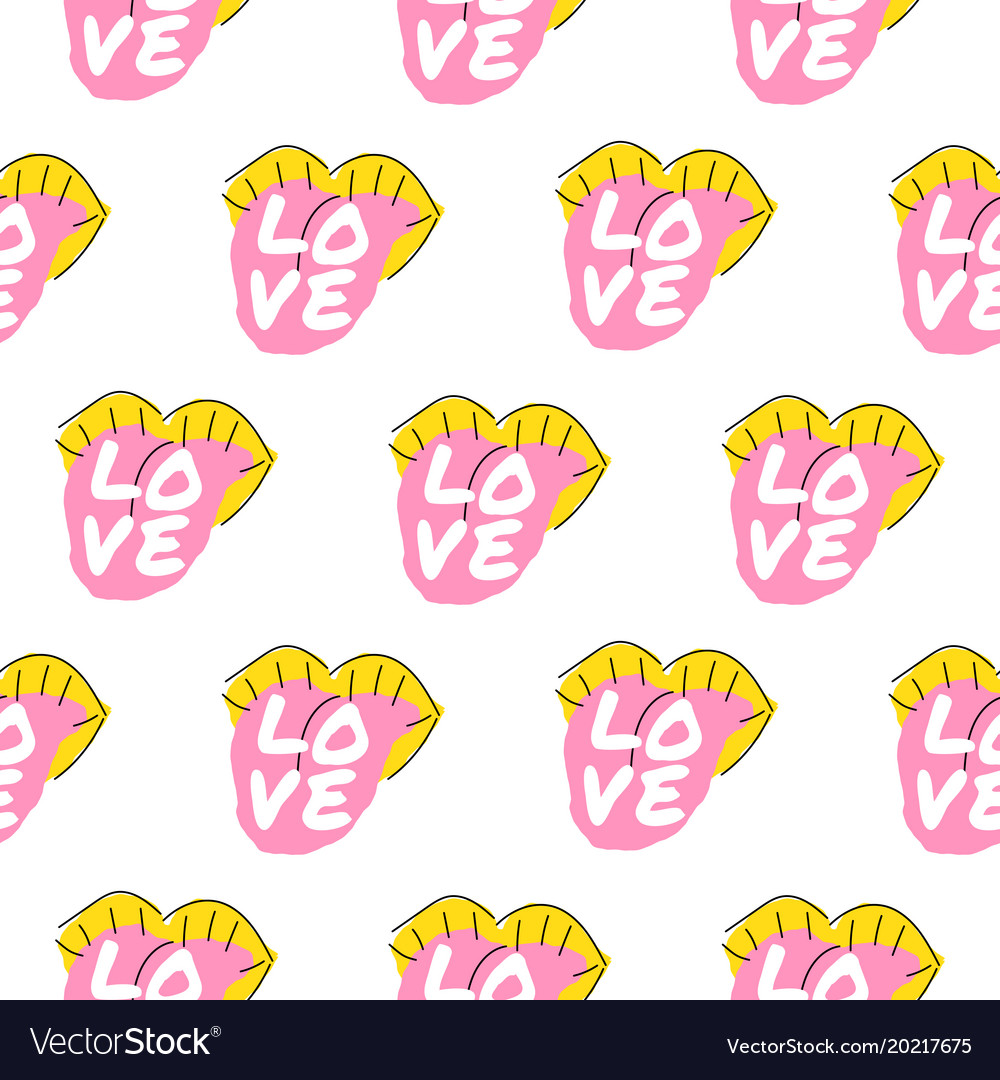 Bright lips seamless pattern with love word design vector image
