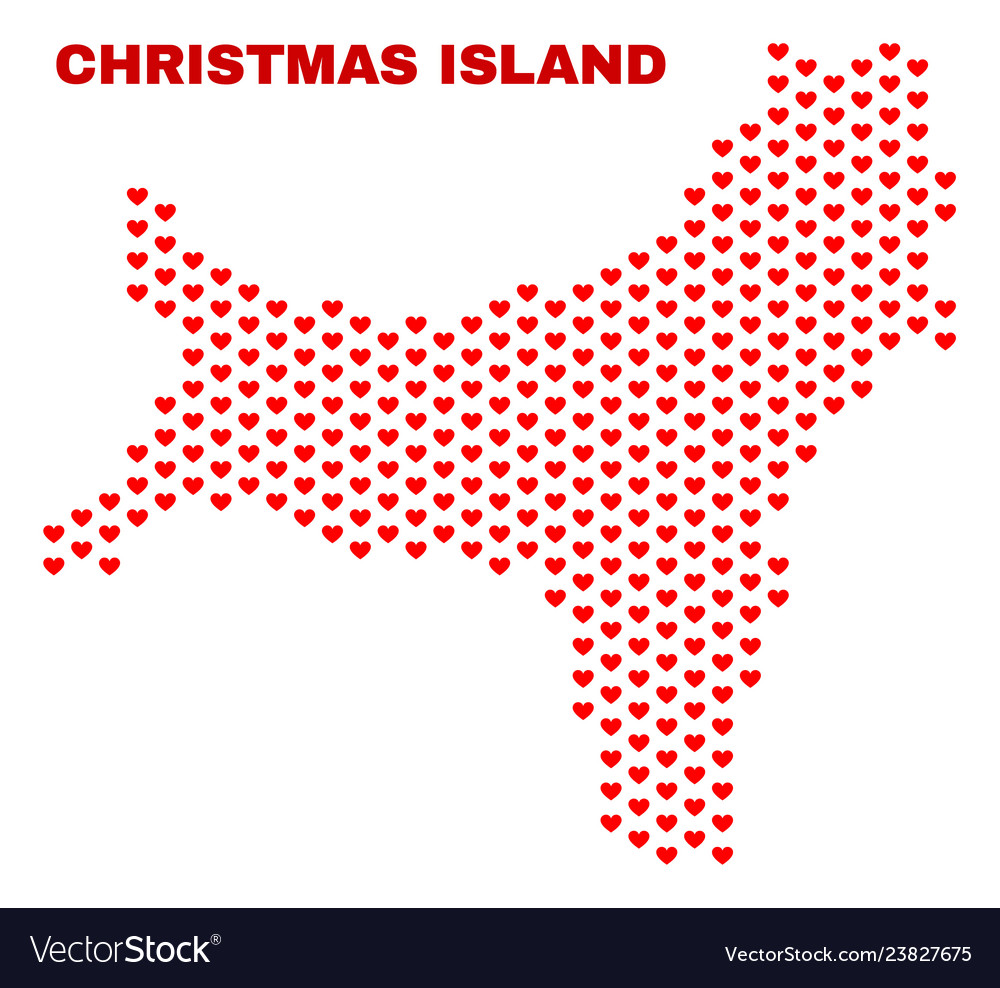 Christmas island map - mosaic of lovely hearts