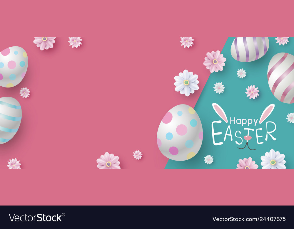 Easter banner design eggs and flowers on paper