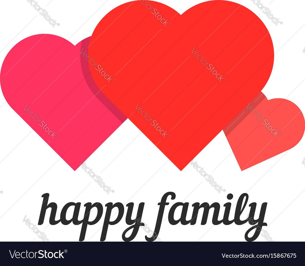 Happy family with three hearts