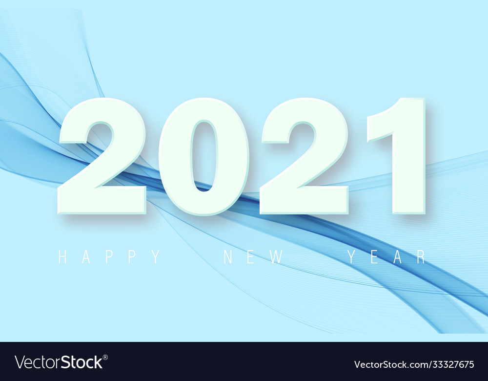Happy new year number 2021 with blue abstract