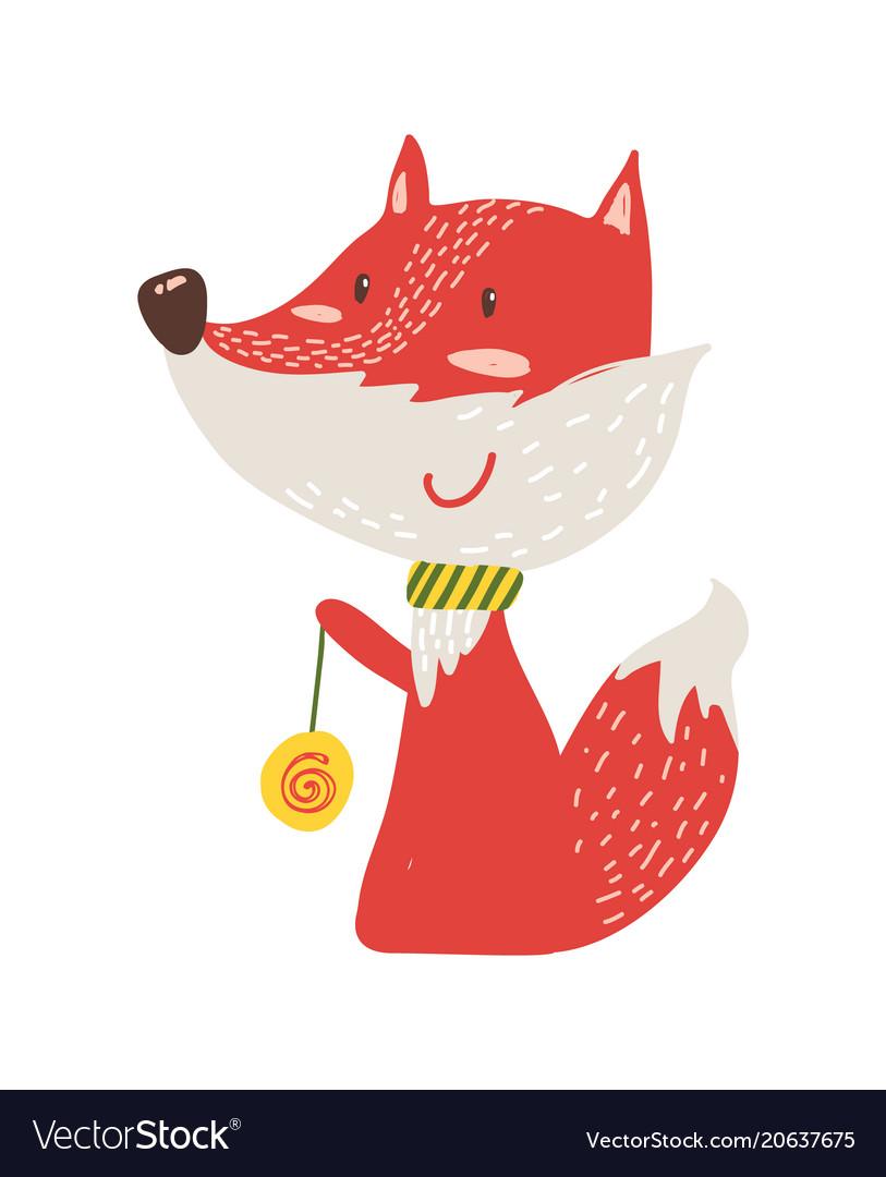 Happy red fox with yo-yo icon
