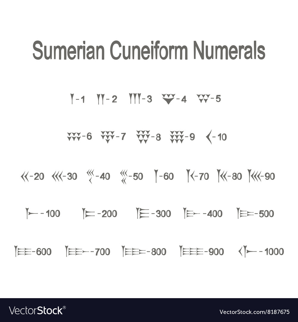 Icons With Sumerian Cuneiform Numeralsu Royalty Free Vector