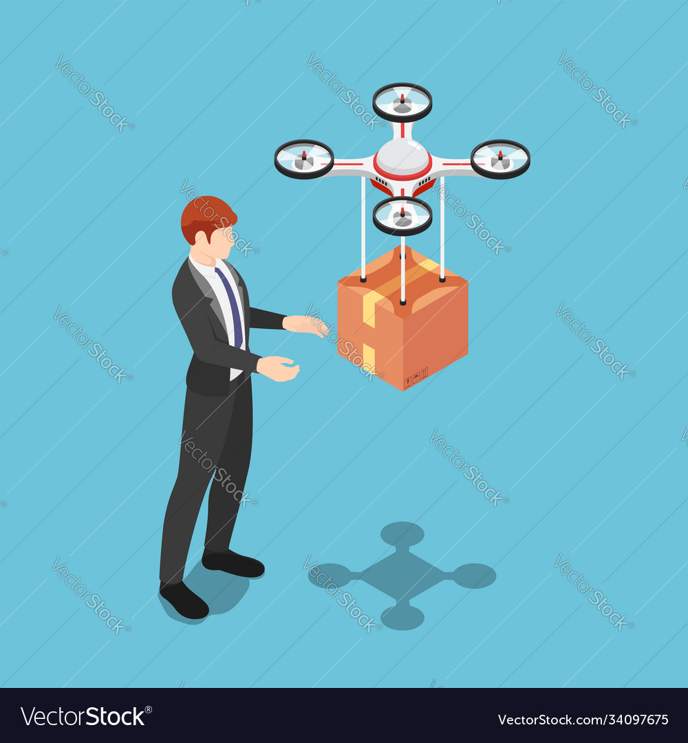 Isometric businessman received package from drone
