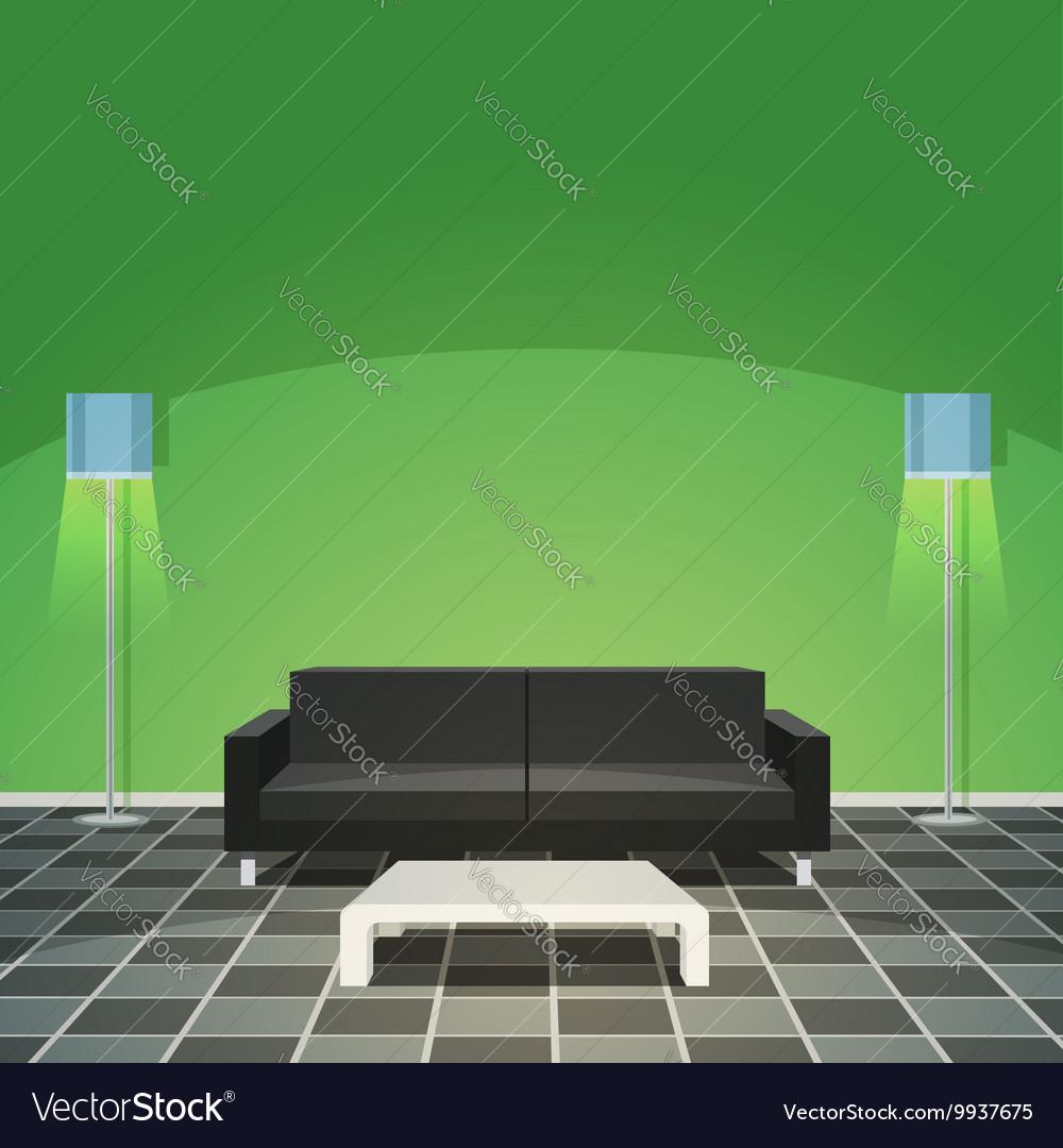 Modern Living Room - Green