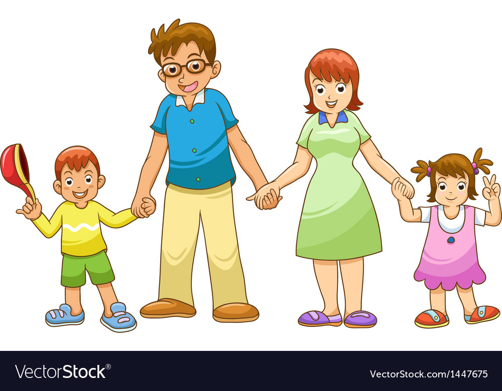 My family holding hands cartoon