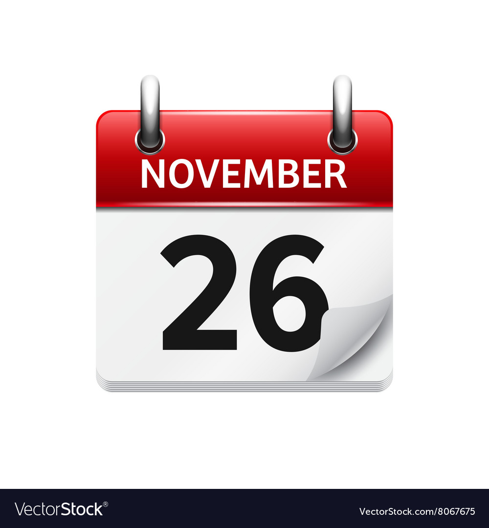 november 26 flat daily calendar icon royalty free vector