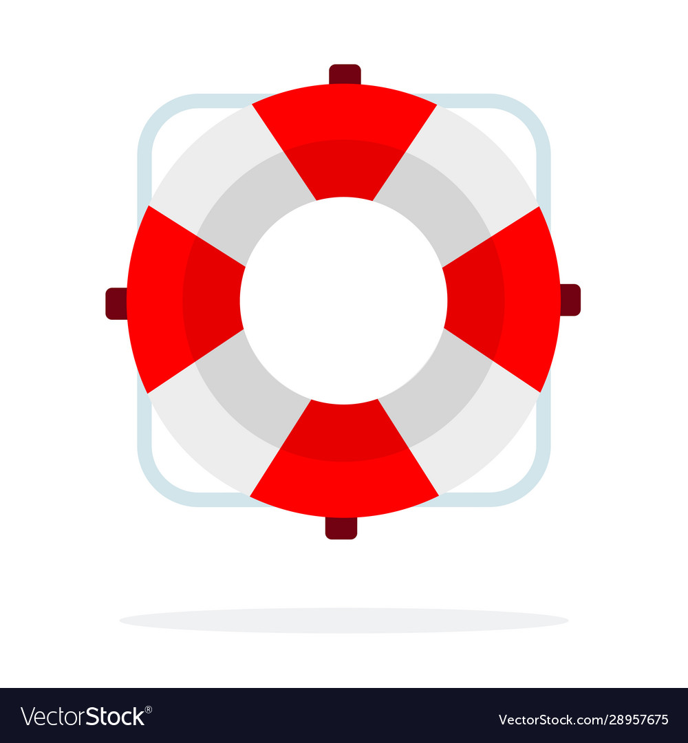 Red lifebuoy flat isolated