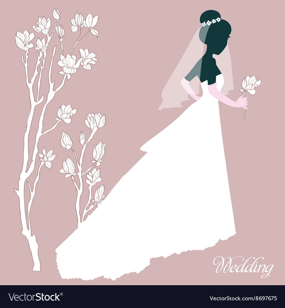 Silhouette Bride With Flowers