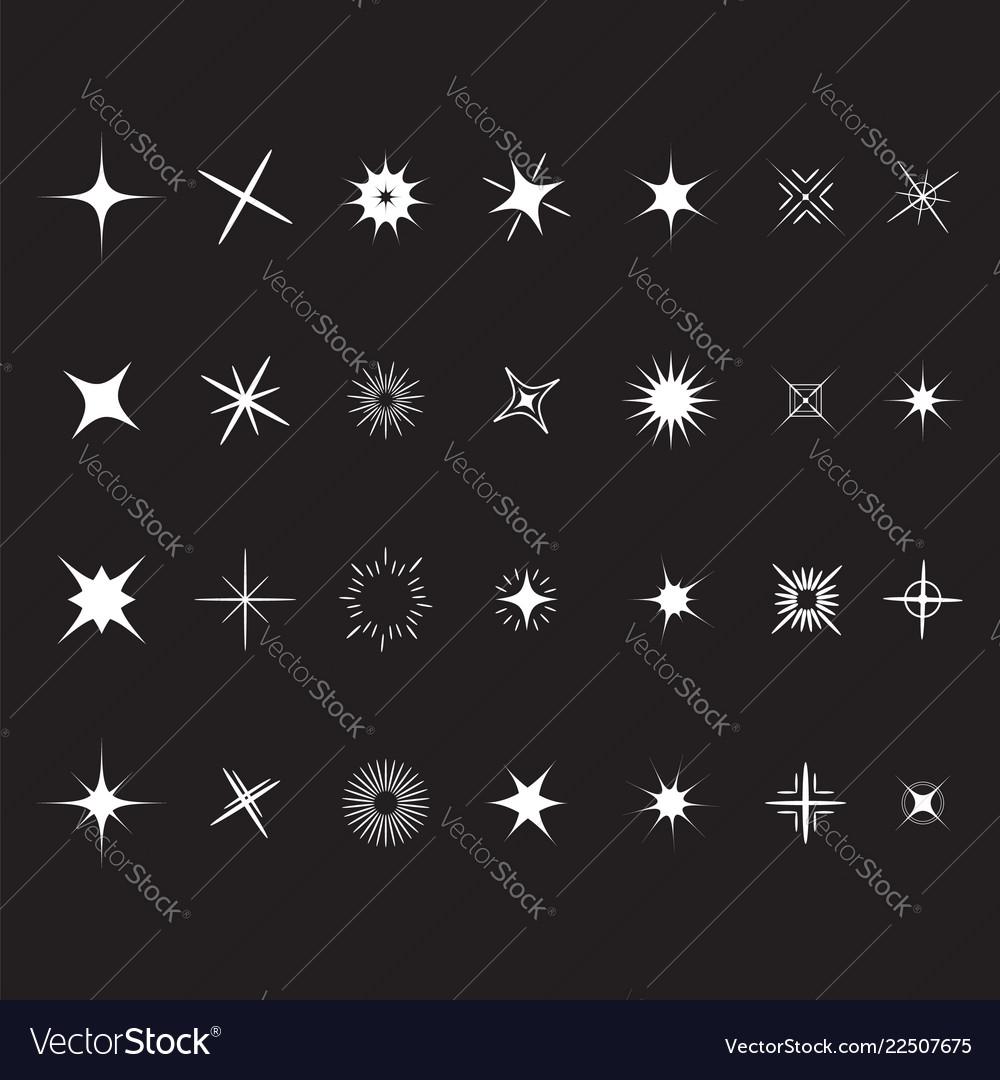 Stars sparkles sign symbol set decoration element