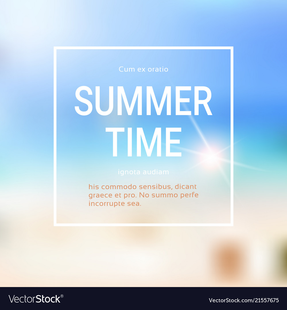 Summer time blurred sea bokeh beach background