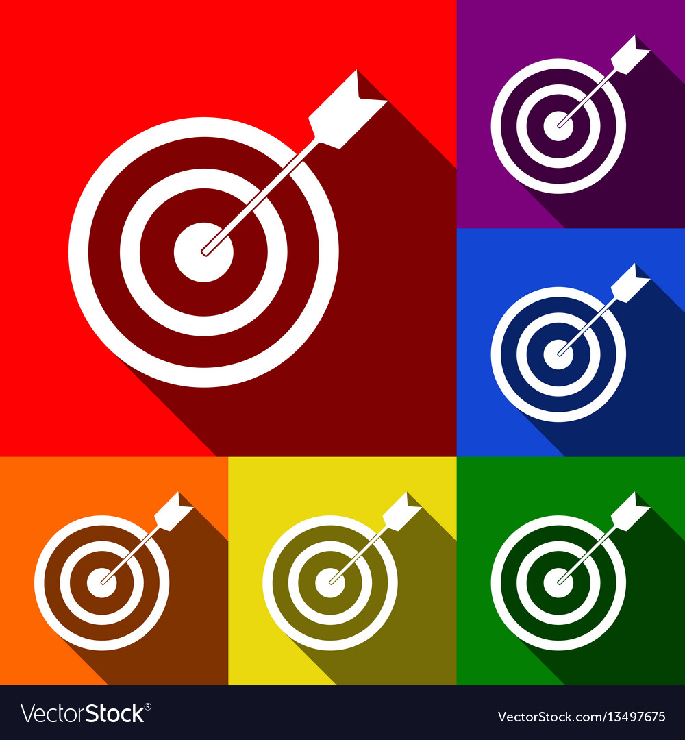 Target with dart set of icons with flat