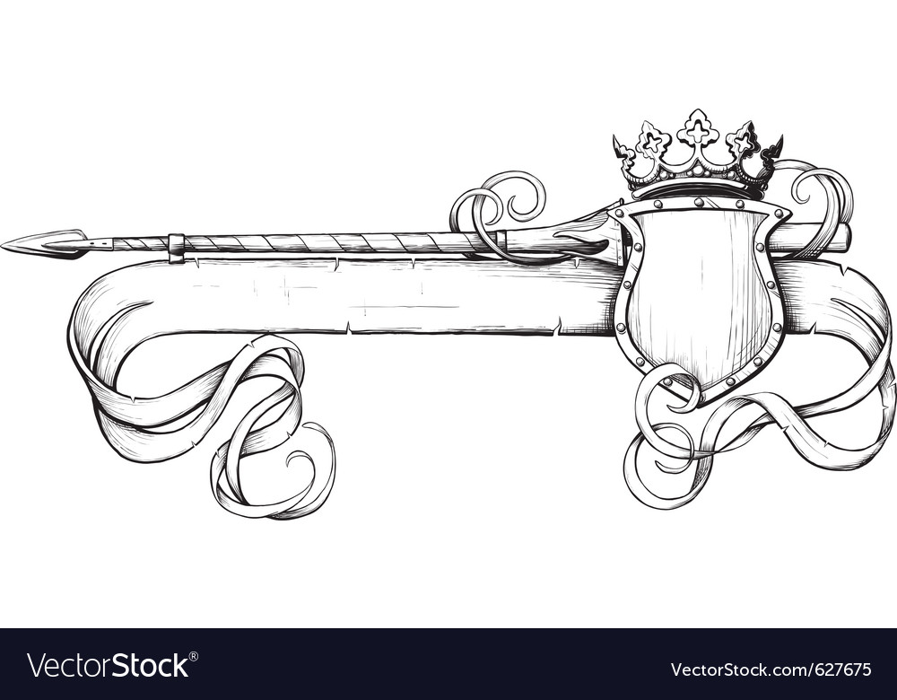 White banner spear and crown