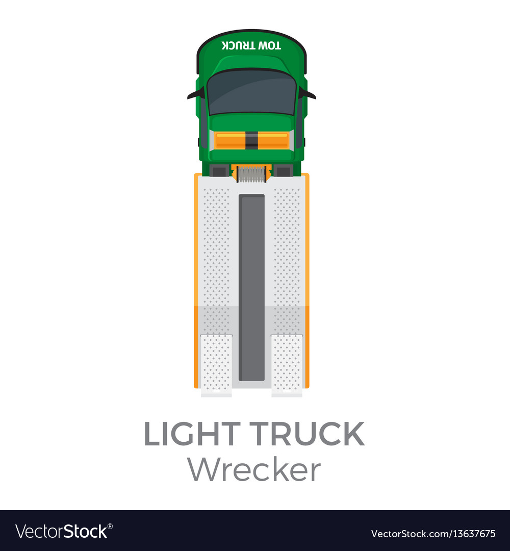 Wrecker light truck top view flat icon