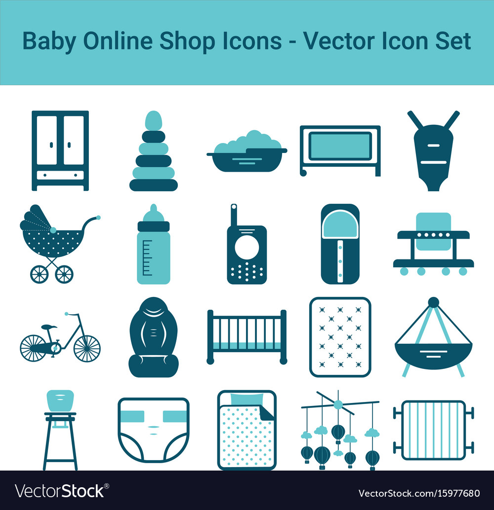 Baby online shop icons on a white background