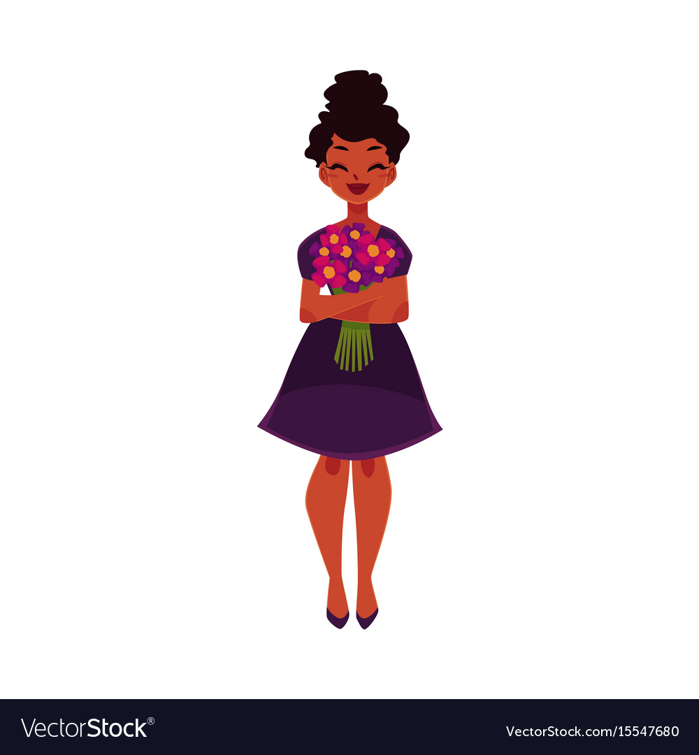 Black african american woman girl holding bunch vector image