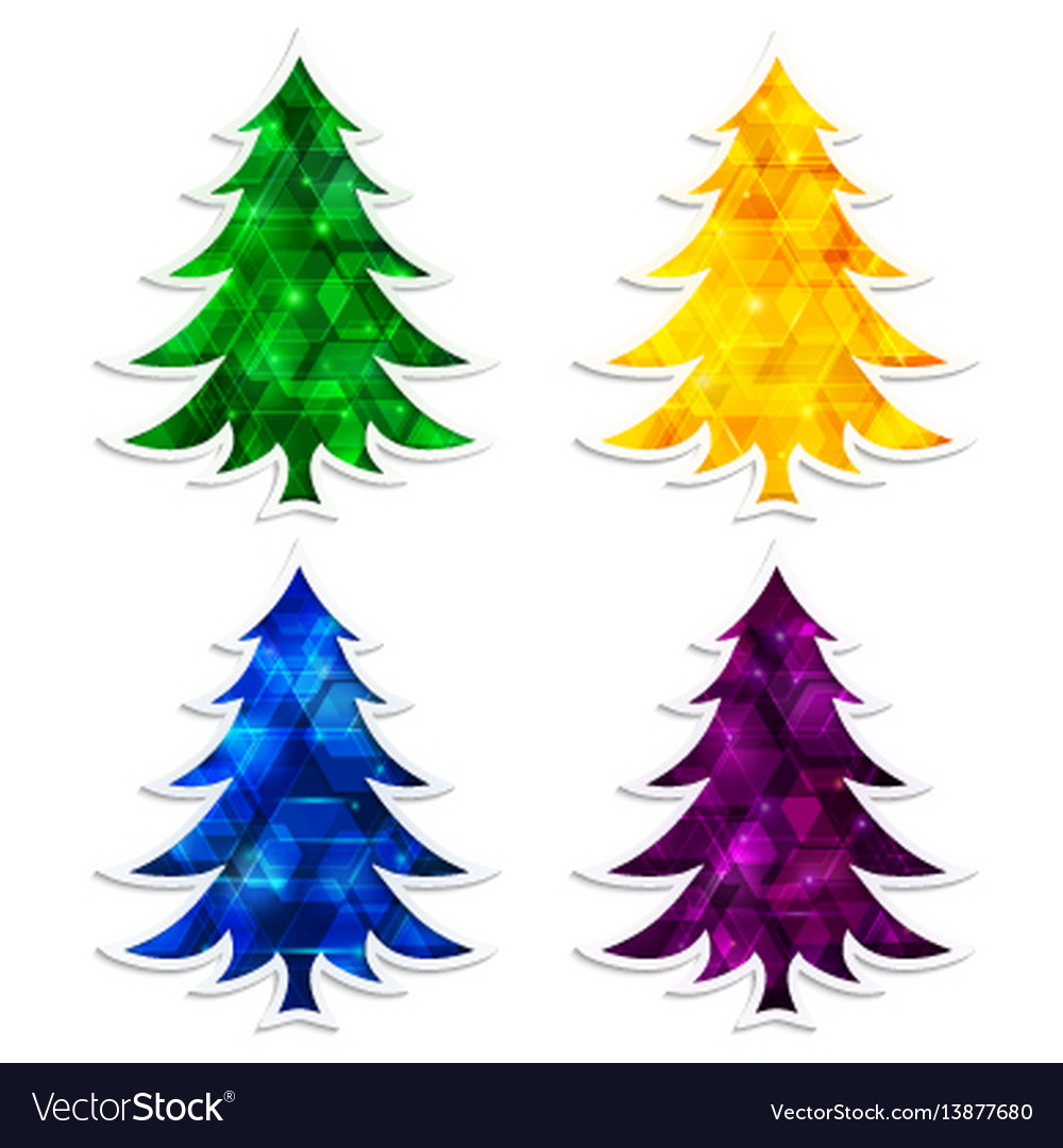 Colorful and glowing christmas trees isolated on
