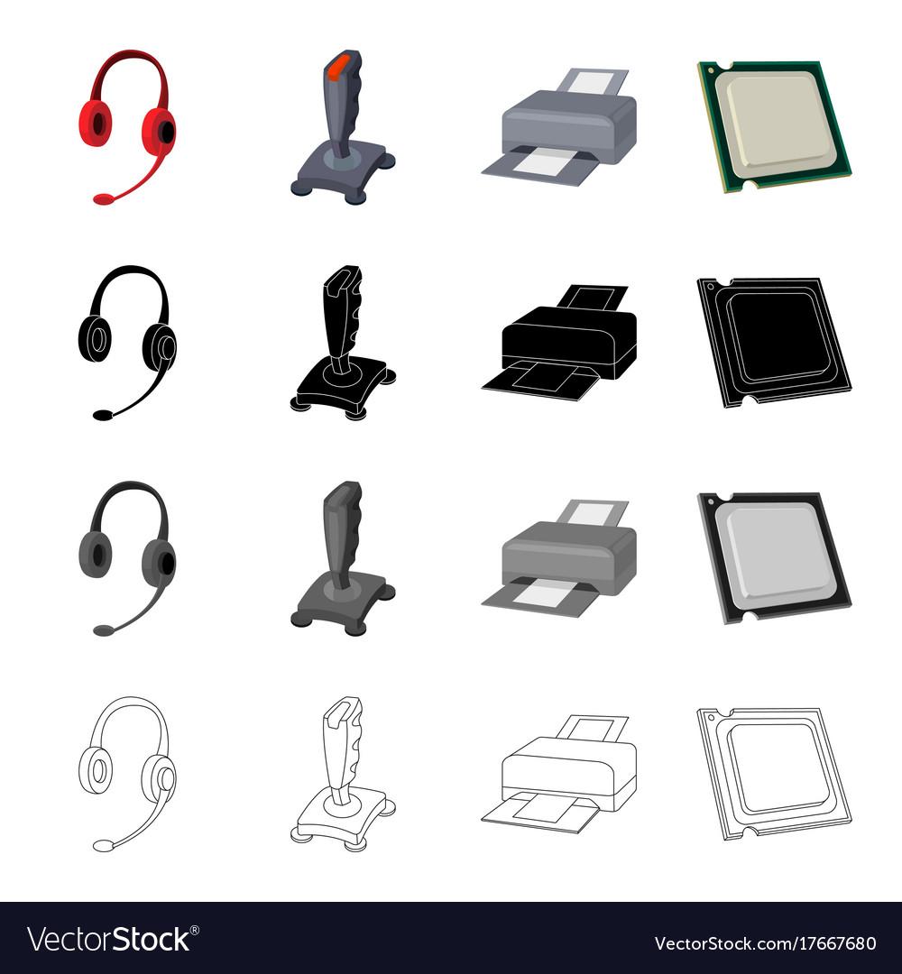 Computer equipment earphone with microphone vector image