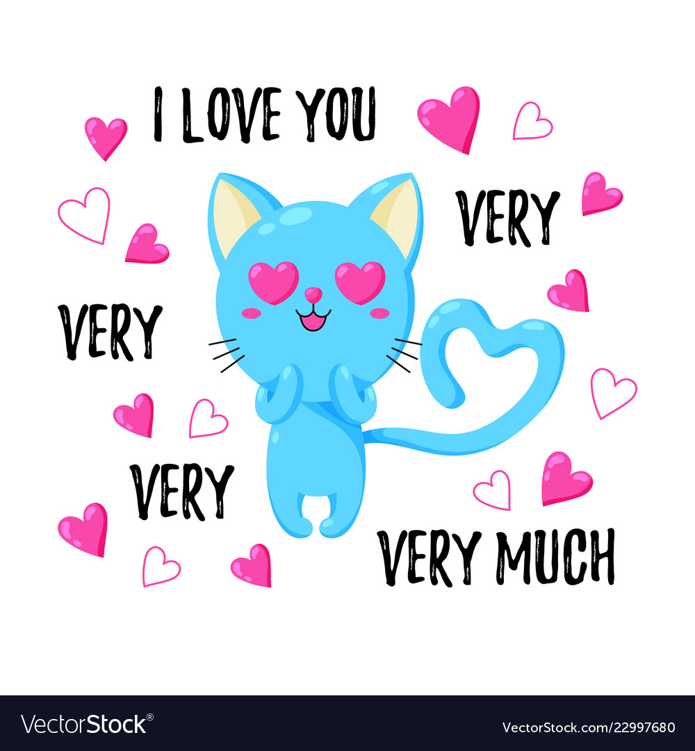 Cute greeting card with cat template for