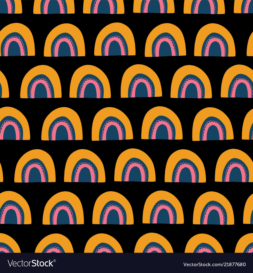 Cute hand drawn rainbows seamless pattern