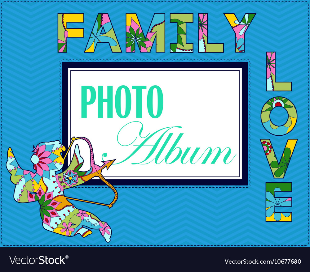 Family weddng album cover Royalty Free Vector Image