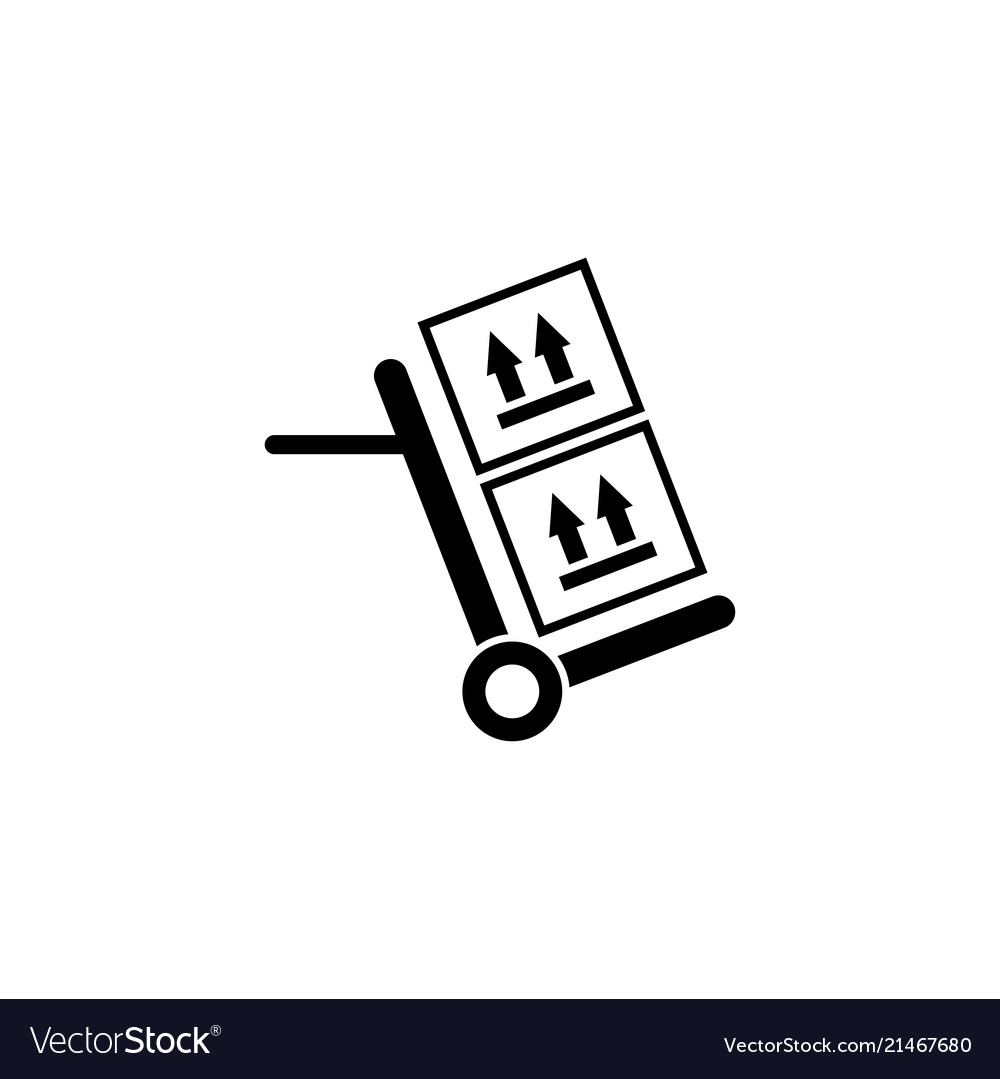 Hand truck with cardboard boxes flat icon