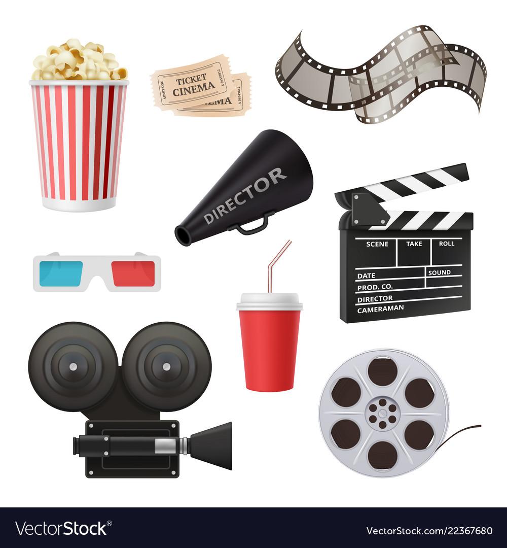 Movie 3d icons camera cinema stereo glasses