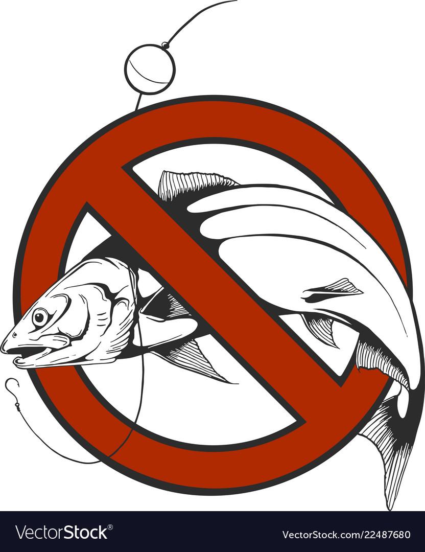 No fishing sign in circle shape