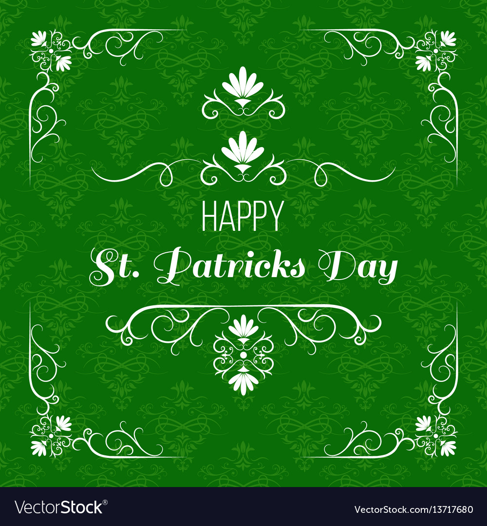 Saint patrick s day greeting card design vector image