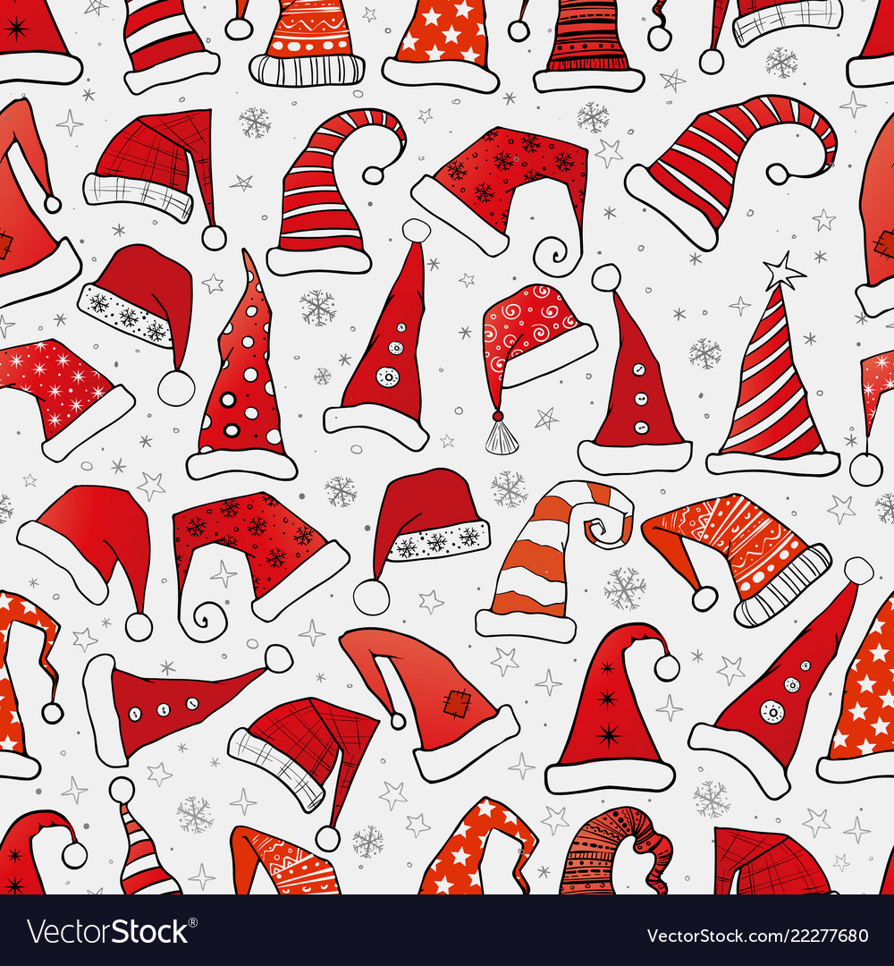 Set of christmas hats on brown parcel paper