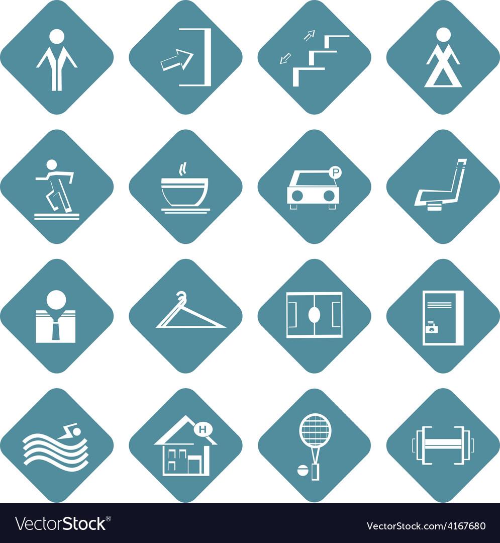 Set of flat information symbols of sport center