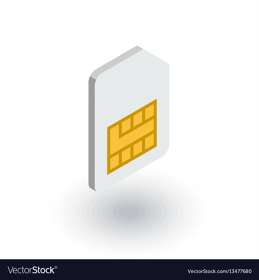 Sim card isometric flat icon 3d