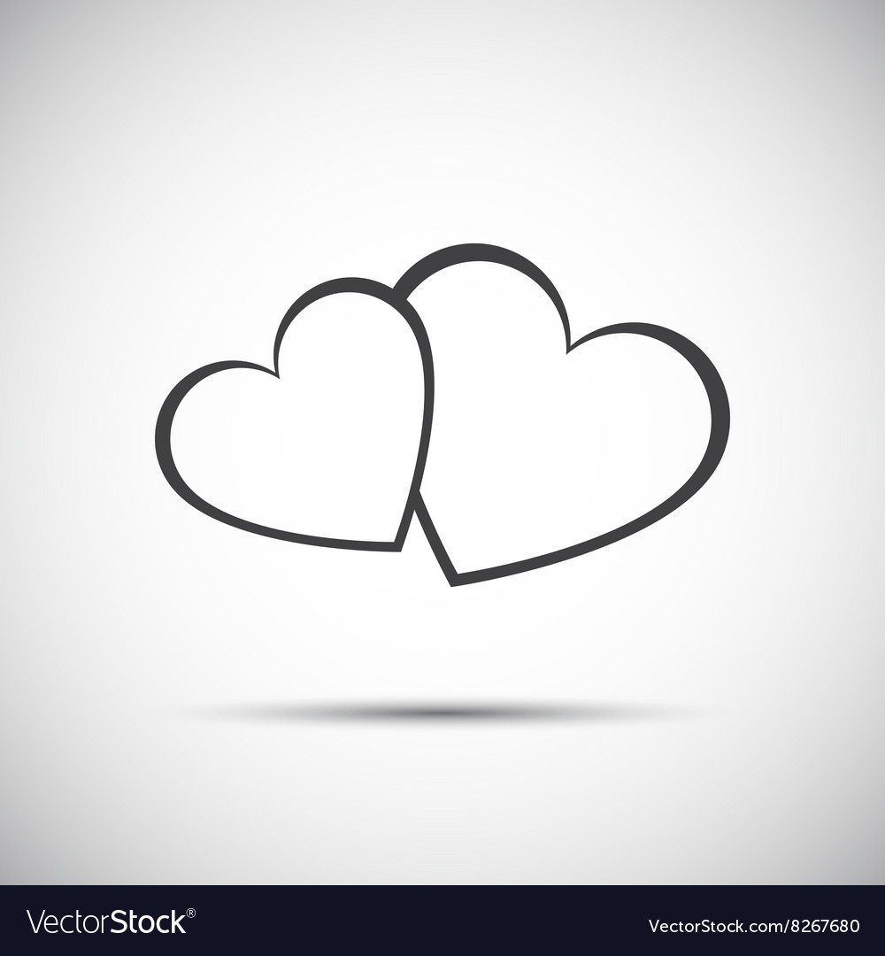 Simple two hearts icon valentines day vector image